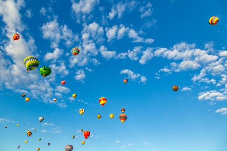 albuquerque: Hot Air Balloons fly over the city of Albuquerque, New Mexico Stock Photo