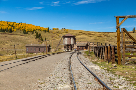 narrow gauge railroads: A view of Osier Station on a mountain railroad high in the San Juan National Forest along the border of New Mexico and Colorado