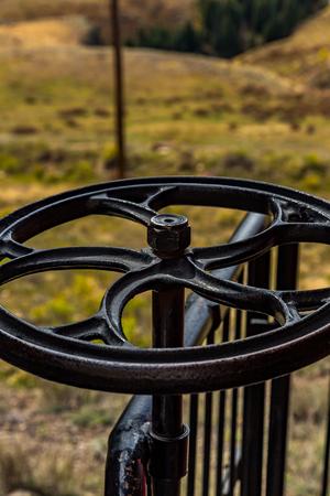 narrow gauge railroad: A brake wheel on a narrow gauge railroad passenger car