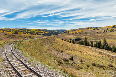 Narrow Gauge railroad tracks pass through Osier, Colorado in the San Juan National Forest