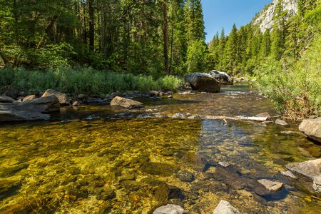 joaquin: The Merced River in Yosemite Valley as it flows from the Sierra Nevada to the San Joaquin Valley.