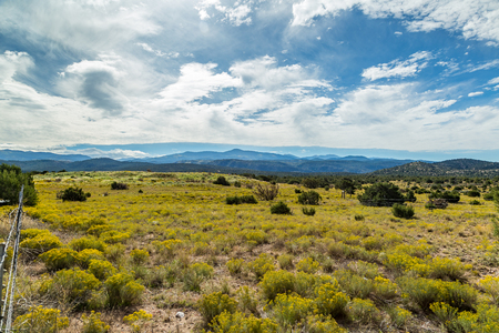 fenceline: A View of Sierra Mosca and The Dome in the Sangre de Cristo Mountains along State Highway 76.