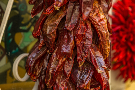 A ristra is an arrangement of drying chile pepper pods, garlic bulbs, or other vegetables for later consumption. In addition to its practical use, the ristra has come to be a trademark of decorative design in the state of New Mexico.