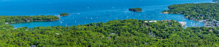 A view of the harbor in Camden, Maine from the summit of Mount Battie in Camden Hills State Park.