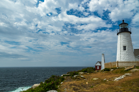 The Pemaquid Point Light is a historic U.S. lighthouse located in Bristol, Lincoln County, Maine, at the tip of the Pemaquid Neck. The lighthouse was commissioned in 1827 by President John Quincy Adams and built that year.