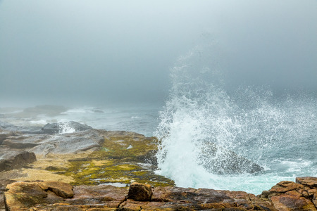A morning fog lays over the Schoodic Peninsula at Acadia National Park in Maine. Stock Photo