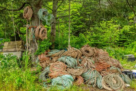 Large quantities of rope are necessary to have on hand when setting and pulling lobster traps. Stock Photo