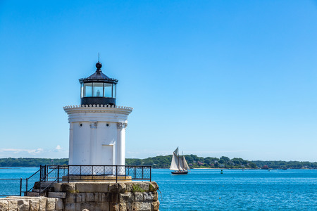 The Portland Breakwater Light (also called Bug Light) was first built in 1855, as a wooden structure, but the breakwater was extended and a new lighthouse was constructed at the end of it in 1875. The light was fully restored in 1989 and was reactivated i