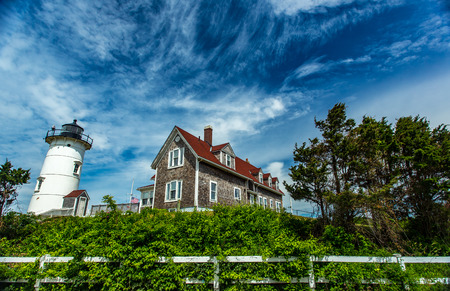 Nobska Light, or Nobsque Light, also known as Nobska Point Light is a lighthouse located at the division between Buzzards Bay and Vineyard Sound in Woods Hole, Massachusetts on the southwestern tip of Cape Cod, Massachusetts. Stock Photo