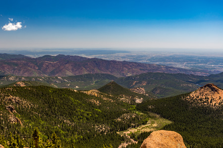 Pikes Peak is the highest summit of the southern Front Range of the Rocky Mountains Stock Photo
