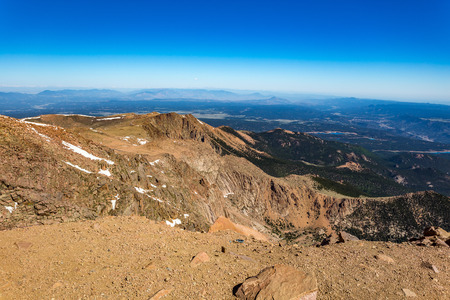 Pikes Peak, the highest summit of the southern Front Range of the Rocky Mountains.
