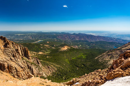 Pikes Peak, Rocky Mountains on a sunny day Stock Photo
