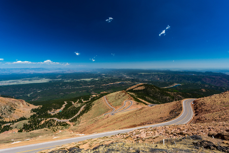 Pikes Peak is the highest summit of the southern Front Range of the Rocky Mountains. The ultra-prominent fourteener is located in Pike National Forest, 12 miles west of downtown Colorado Springs. The mountain is named in honor of American explorer Zebulon Stock Photo