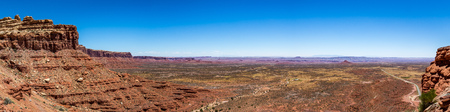 The Valley of the Gods is a scenic sandstone valley near Mexican Hat in San Juan County, southeastern Utah, part of Bears Ears National Monument. Stock Photo
