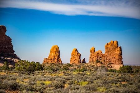Located outside of Moab, Utah is Arches National Park consisting of 18 miles of scenic drives through the high desert. Stock Photo