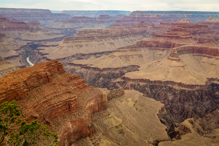 Along the Grand Canyon National Park in Arizona there are multiple lookouts and overlooks to see down into the canyon. Stock Photo