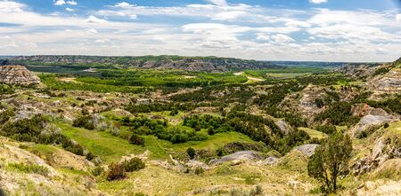 A panoramic view of the Oxbow Overlook at the North Unit of Theodore Roosevelt National Park in western North Dakota.