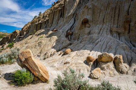 Cannonball concretions form from mineral rich water deposits in the North Dakota Badlands.
