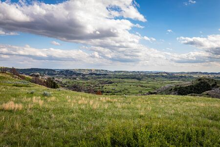 The Boicourt Overlook on the Scenic Loop Road at Theodore Roosevelt National Park offers countless spectacular summertime viewpoints. Фото со стока