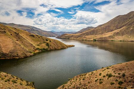 A view of the Snake River at the stateline of Idaho and Oregon in Hells Canyon.