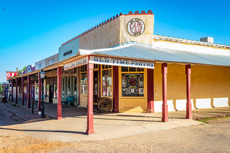 Tombstone, Arizona, USA - March 2, 2019: Morning view of Allen Street in the famous Old West Town Historic District