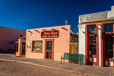 Tombstone, Arizona, USA - March 2, 2019: Morning view of Fallen Angel Ice Cream Parlor on Allen Street in the famous Old West Town Historic District