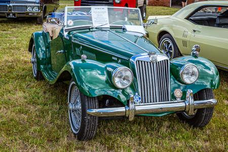 Fernandina Beach, FL / USA - September 22, 2018: 1955 MGTF 1500 at a car show at Fort Clinch in Fernandina Beach, Florida near Jacksonville.