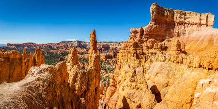 Hoodoo and eroded cliff formations at Bryce Canyon National Park in Utah. Stock Photo