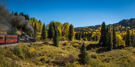 Rocky Mountains, NM / USA - September 28, 2016: Cumbres and Toltec passenger steam train scenery and views as it makes its way from Chama, New Mexico to Antonito, Colorado.
