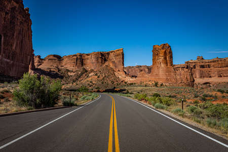 Canyons and eroded sandstone and limestone formations dominate the landscape at Arches National Park nesr Moab, Utah.