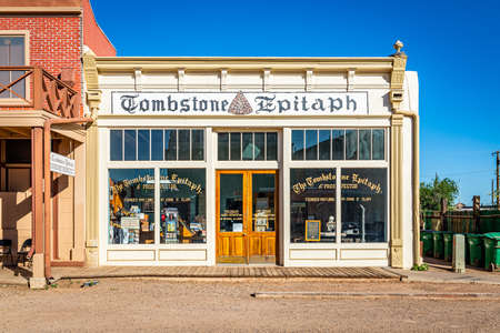 Tombstone, Arizona / USA - June 6, 2020: Morning view of the Tombstone Epitaph in the famous Old West Town Historic District 報道画像