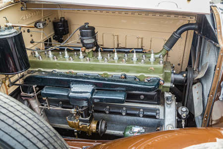 Jesup, GA - March 17, 2018: Close up view of a 1930 Packard Eight Series 734 at the Jesup 2018 St. Patrick's Day Car Show.