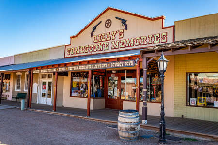 Tombstone, Arizona, USA - March 2, 2019: Morning view of Lilly's Tombstone Memories on Allen Street in the famous Old West Town Historic District