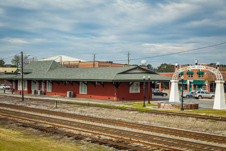 Jesup, GA - March 17, 2018: The historic train passenger depot in the city of Jesup, Georgia.
