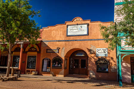 Tombstone, Arizona, USA - March 2, 2019: Morning view of Madame Mustache on Allen Street in the famous Old West Town Historic District