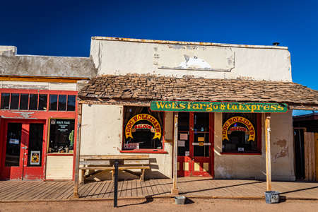Tombstone, Arizona, USA - March 2, 2019: Morning view of Doc Hollidays Saloon on Allen Street in the famous Old West Town Historic District