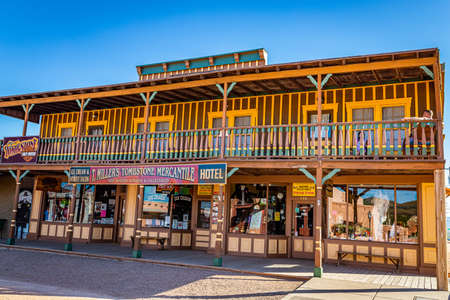 Tombstone, Arizona, USA - March 2, 2019: Morning view of T. Miller's Tombstone Mercantile on Allen Street in the famous Old West Town Historic District 報道画像