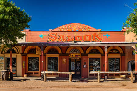Tombstone, Arizona, USA - March 2, 2019: Morning view of Big Nose Kate's Saloon on Allen Street in the famous Old West Town Historic District