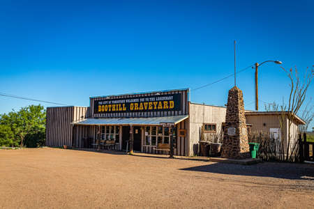 Tombstone, Arizona, USA - March 2, 2019: Morning view of the entrance and gift shop at the famous Boot Hill Cemetery.