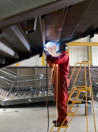 steelwork: Skilled welder Stock Photo