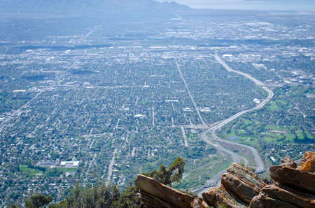 The salt lake city valley from the cliff edges above the city.
