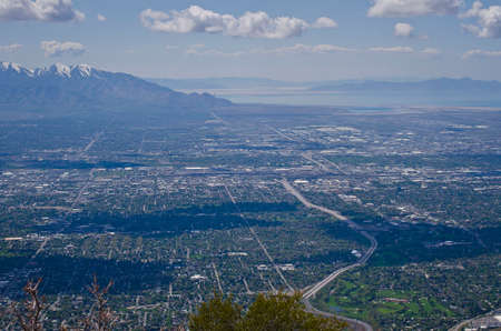 A view of the cloud shadows on the ground of the salt lake city valley. Reklamní fotografie