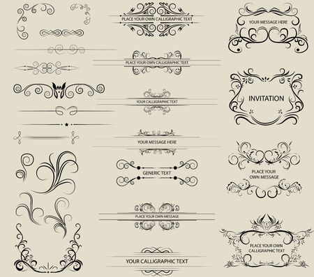 Vector calligraphic and ornament elements Illustration