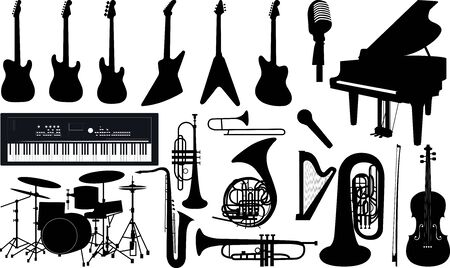 Illustration set of isolated musical instruments.