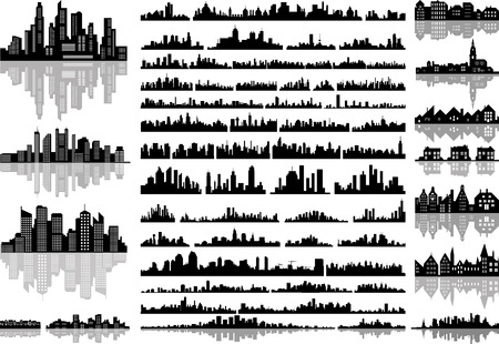 skylines: Set of isolated abstract city skylines.