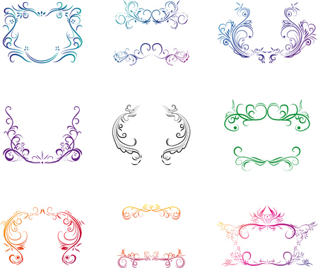 Set of the isolated decorative elements.