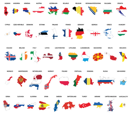 All Europe countries maps mixed with flags.