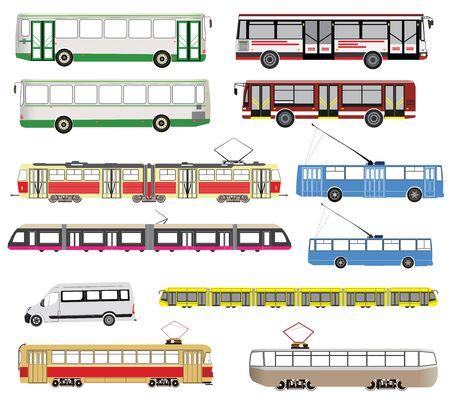 omnibus: Public transport set isolated on white