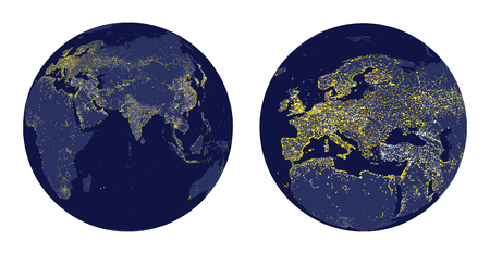 luminary: Vector illustration of Earth with city lights and zoom of Europe