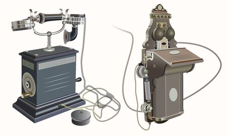 Set of the old fashion vector telephones